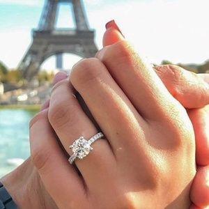 Round CZ Diamond Zircon Engagement Wedding Ring